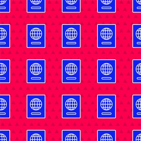 Blue Passport with biometric data icon isolated seamless pattern on red background. Identification Document. Vector Illustration Vectores