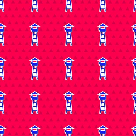 Blue Watch tower icon isolated seamless pattern on red background. Prison tower, checkpoint, protection territory, state border, military base. Vector Illustration 矢量图像