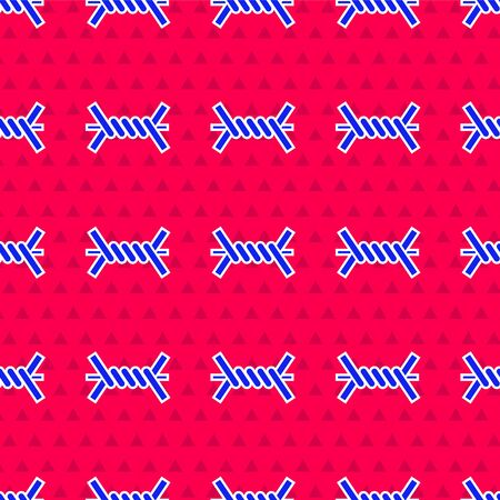 Blue Barbed wire icon isolated seamless pattern on red background. Vector Illustration
