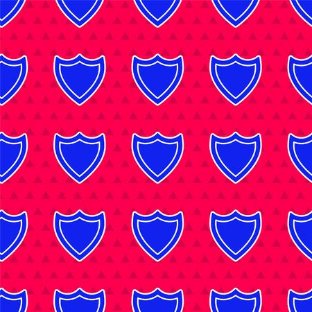 Shield icon isolated seamless pattern on red background. Guard sign. Security, safety, protection, privacy concept. Vector Illustration