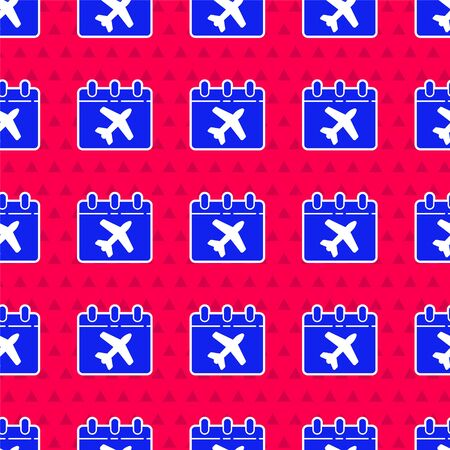 Blue Travel planning calendar and airplane icon isolated seamless pattern on red background. A planned holiday trip. Vector Illustration Illusztráció