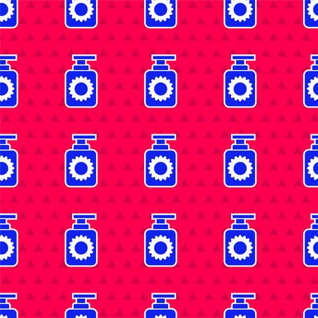 Blue Sunscreen spray bottle icon isolated seamless pattern on red background. Protection for the skin from solar ultraviolet light. Vector Illustration