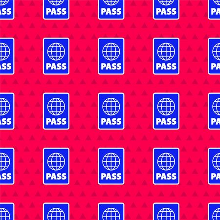 Blue Passport with biometric data icon isolated seamless pattern on red background. Identification Document. Vector Illustration Foto de archivo - 142653066