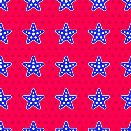 Blue Starfish icon isolated seamless pattern on red background. Vector Illustration 向量圖像