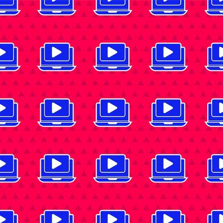 Blue Online play video icon isolated seamless pattern on red background. Laptop and film strip with play sign. Vector Illustration 写真素材 - 143417037