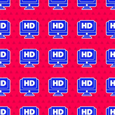 Blue Computer PC monitor display with HD video technology icon isolated seamless pattern on red background. Vector Illustration Иллюстрация