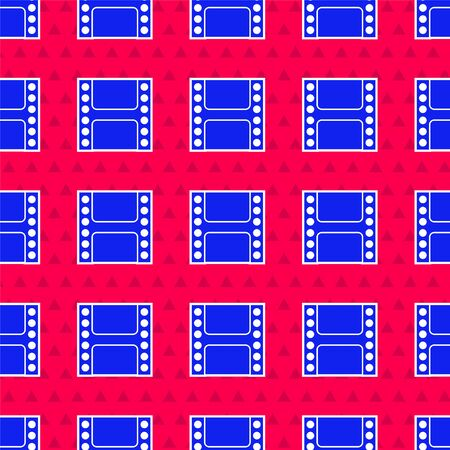 Blue Play Video icon isolated seamless pattern on red background. Film strip sign. Vector Illustration 写真素材 - 143417057