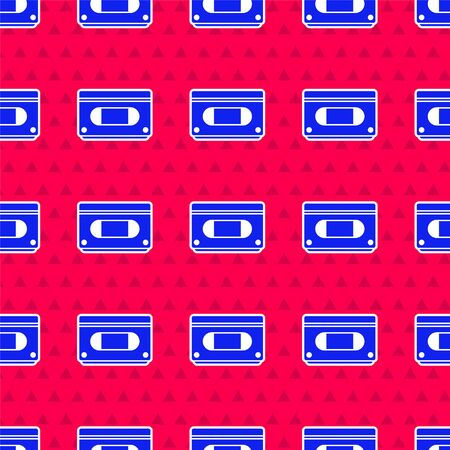 Blue video cassette tape icon isolated seamless pattern on red background. Vector Illustration  イラスト・ベクター素材