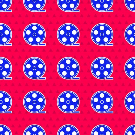 Blue Film reel icon isolated seamless pattern on red background. Vector Illustration