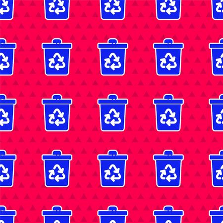 Blue Recycle bin with recycle symbol icon isolated seamless pattern on red background. Trash can icon. Garbage bin sign. Recycle basket sign. Vector Illustration