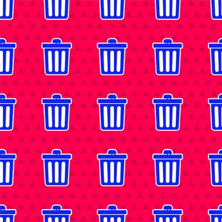 Blue Trash can icon isolated seamless pattern on red background. Garbage bin sign. Recycle basket icon. Office trash icon. Vector Illustration  イラスト・ベクター素材
