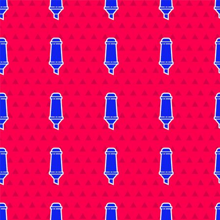 Blue Marker pen icon isolated seamless pattern on red background. Vector Illustration