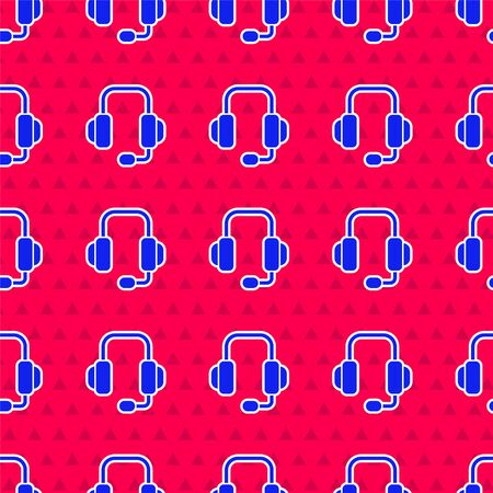 Blue Headphones icon isolated seamless pattern on red background. Support customer service, hotline, call center, faq, maintenance. Vector Illustration