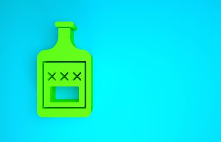 Green Whiskey bottle icon isolated on blue background. Minimalism concept. 3d illustration 3D render Reklamní fotografie
