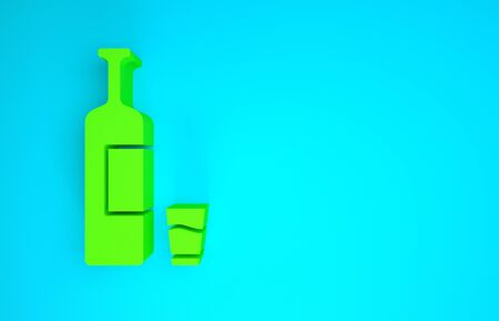 Green Whiskey bottle and glass icon isolated on blue background. Minimalism concept. 3d illustration 3D render
