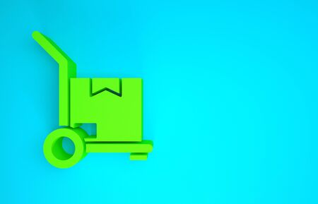 Green Hand truck and boxes icon isolated on blue background. Dolly symbol. Minimalism concept. 3d illustration 3D render