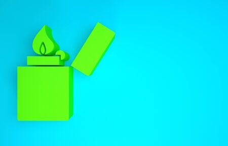 Green Lighter icon isolated on blue background. Minimalism concept. 3d illustration 3D render Banco de Imagens - 142718682