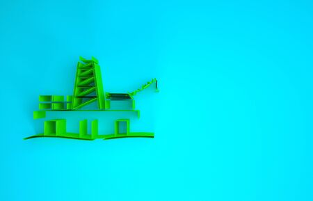 Green Oil platform in the sea icon isolated on blue background. Drilling rig at sea. Oil platform, gas fuel, industry offshore. Minimalism concept. 3d illustration 3D render Stock Photo