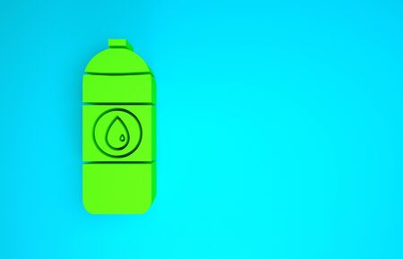 Green Plastic canister for motor machine oil icon isolated on blue background. Oil gallon. Oil change service and repair. Minimalism concept. 3d illustration 3D render Reklamní fotografie