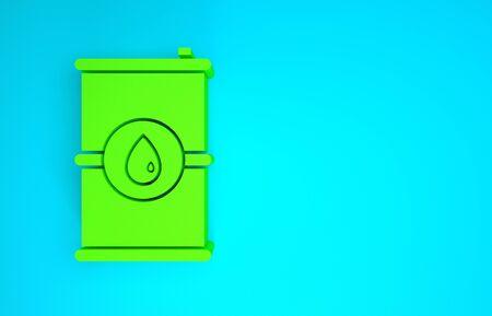 Green Barrel oil icon isolated on blue background. Minimalism concept. 3d illustration 3D render Reklamní fotografie