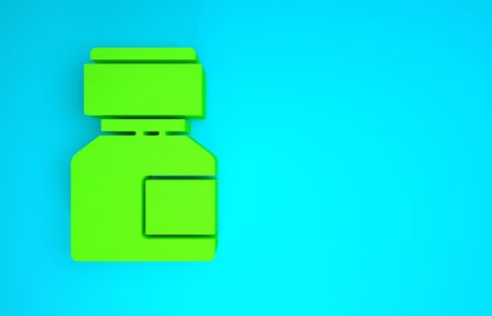 Green Paint, gouache, jar, dye icon isolated on blue background. Minimalism concept. 3d illustration 3D render