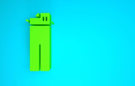Green Lighter icon isolated on blue background. Minimalism concept. 3d illustration 3D render Banco de Imagens