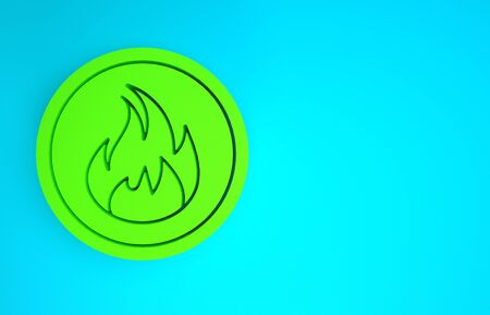 Green Fire flame icon isolated on blue background. Minimalism concept. 3d illustration 3D render