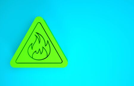 Green Fire flame in triangle icon isolated on blue background. Warning sign of flammable product. Minimalism concept. 3d illustration 3D render Banco de Imagens - 142721549