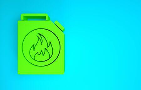 Green Canister for flammable liquids icon isolated on blue background. Oil or biofuel, explosive chemicals, dangerous substances. Minimalism concept. 3d illustration 3D render Reklamní fotografie