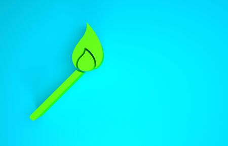Green Burning match with fire icon isolated on blue background. Match with fire. Matches sign. Minimalism concept. 3d illustration 3D render Banco de Imagens