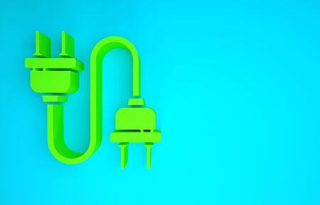Green Electric plug icon isolated on blue background. Concept of connection and disconnection of the electricity. Minimalism concept. 3d illustration 3D render 스톡 콘텐츠