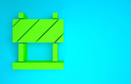 Green Road barrier icon isolated on blue background. Symbol of restricted area which are in under construction processes. Repair works. Minimalism concept. 3d illustration 3D render
