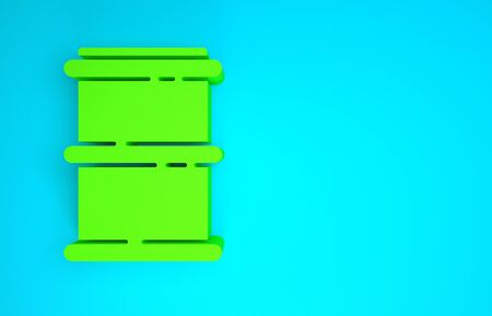 Green Barrel icon isolated on blue background. Minimalism concept. 3d illustration 3D render