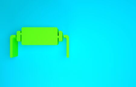 Green Resistor electricity icon isolated on blue background. Minimalism concept. 3d illustration 3D render Stock Photo