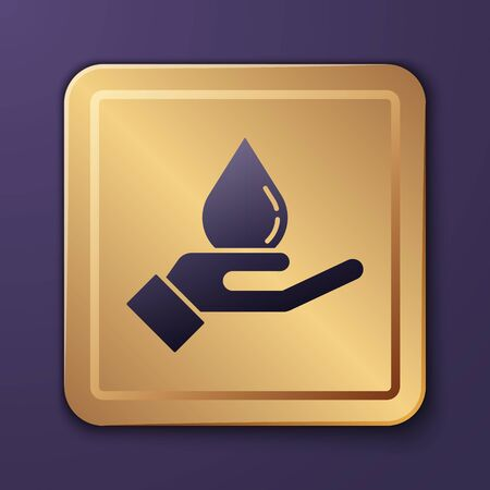 Purple Washing hands with soap icon isolated on purple background. Washing hands with soap to prevent virus and bacteria. Gold square button. Vector Illustration Standard-Bild - 143277755