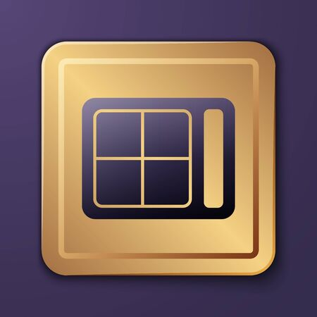 Purple Eye shadow palette with brush icon isolated on purple background. Gold square button. Vector Illustration