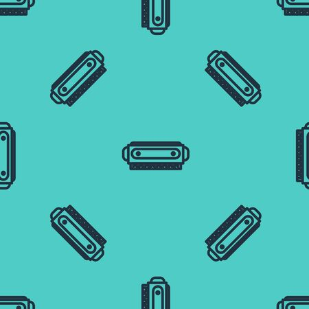 Black line Harmonica icon isolated seamless pattern on green background. Musical instrument. Vector Illustration 矢量图像