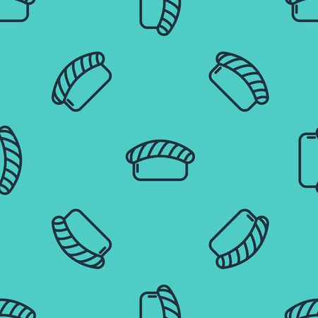 Black line Sushi icon isolated seamless pattern on green background. Traditional Japanese food. Vector Illustration 向量圖像
