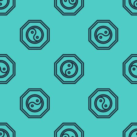 Black line Yin Yang symbol of harmony and balance icon isolated seamless pattern on green background. Vector Illustration