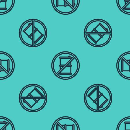 Black line No barrel for gasoline icon isolated seamless pattern on green background. Diesel gas icon. Vector Illustration