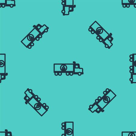 Black line Tanker truck icon isolated seamless pattern on green background. Petroleum tanker, petrol truck, cistern, oil trailer. Vector Illustration