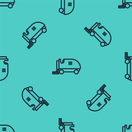Black line Ice resurfacer icon isolated seamless pattern on green background. Ice resurfacing machine on rink. Cleaner for ice rink and stadium. Vector Illustration 일러스트