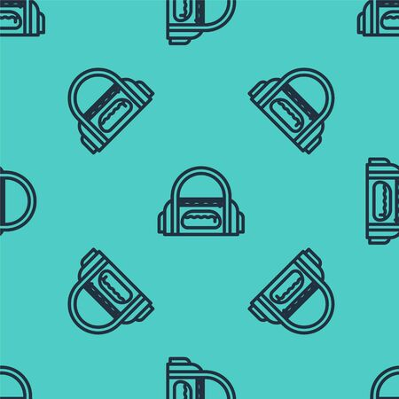 Black line Sport bag icon isolated seamless pattern on green background. Vector Illustration
