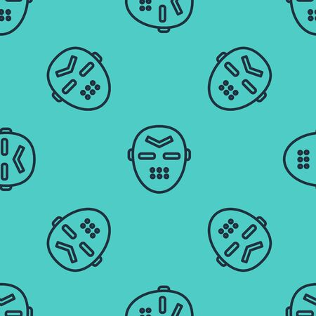 Black line Hockey mask icon isolated seamless pattern on green background. Vector Illustration