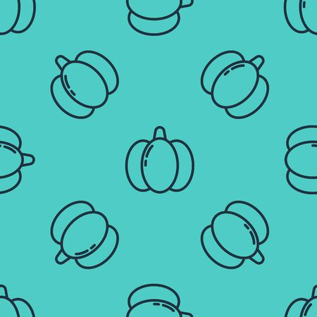 Black line Pumpkin icon isolated seamless pattern on green background. Happy Halloween party. Vector Illustration