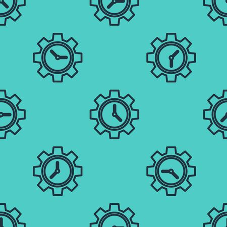 Black line Time Management icon isolated seamless pattern on green background. Clock and gear sign. Productivity symbol. Vector Illustration