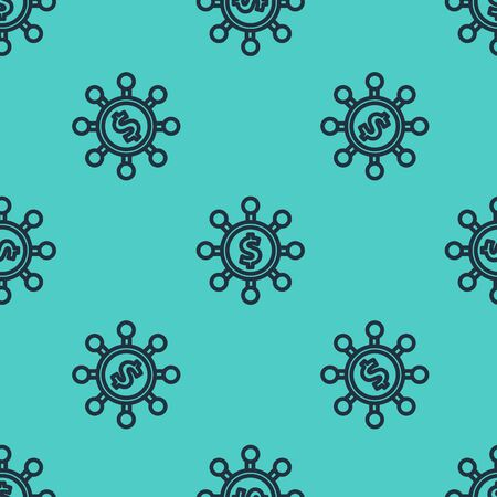 Black line Dollar, share, network icon isolated seamless pattern on green background. Vector Illustration