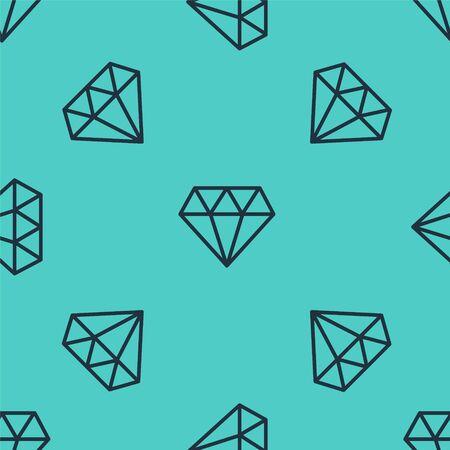 Black line Diamond icon isolated seamless pattern on green background. Jewelry symbol. Gem stone. Vector Illustration
