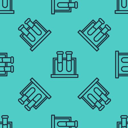 Black line Test tube and flask chemical laboratory test icon isolated seamless pattern on green background. Laboratory glassware sign. Vector Illustration  イラスト・ベクター素材