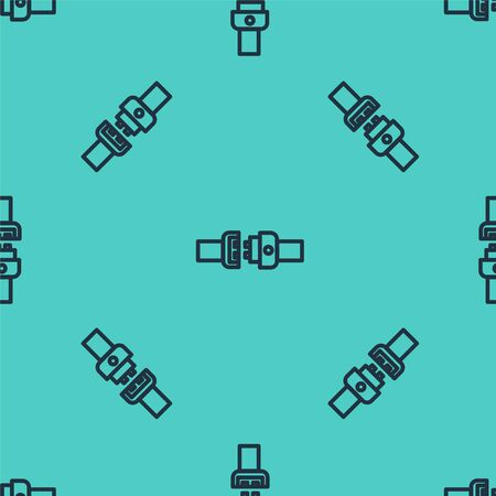 Black line Safety belt icon isolated seamless pattern on green background. Seat belt. Vector Illustration